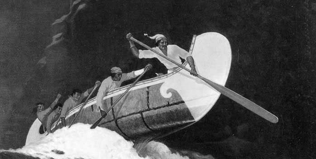 Voyageurs in a canoe